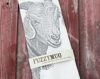 Goat Tea Towel - Hand Printed Flour Sack Tea Towel (Unbleached Cotton)