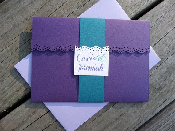 Purple And Blue Wedding Invitations: Purple Lace & White Linen Classic Wedding Invitations With