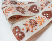 Fabric Trim Vintage Ivory Brown Orange Embroidery Hearts 1 yard plus 22 inches