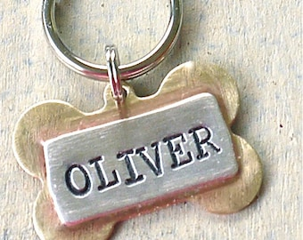 Dog Tag Custom Pet id tag / Oliver Bone TINY Multi Metal