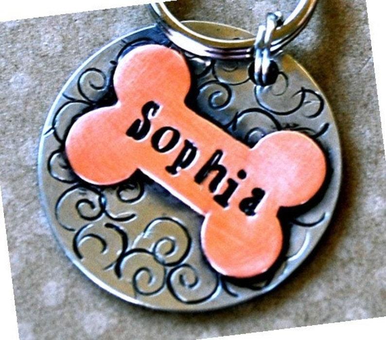 Custom Pet Dog Tag ID  Sophia Multi Metal Bone tag