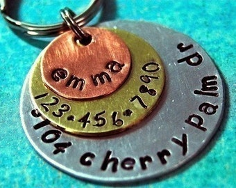 Custom Pet id tag / Multi Metal Triple Layered ALL IN ONE