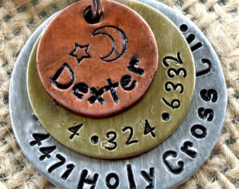 "Pet id tag / Multi Metal 1"" Star and Moon"