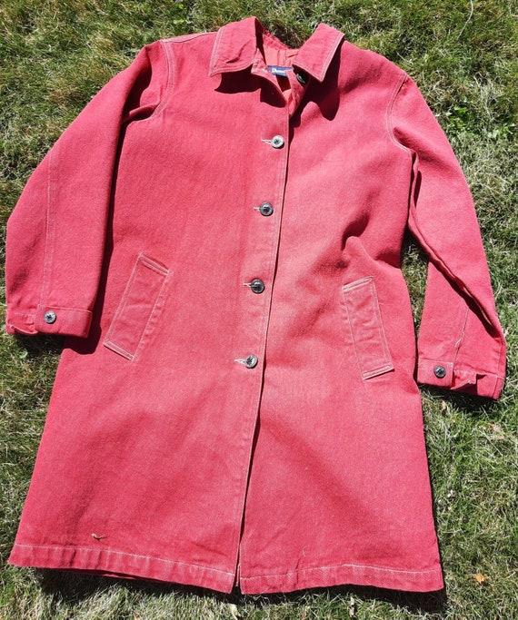 Vintage Red Denim Coat M Denim & Co. Y2K - image 3