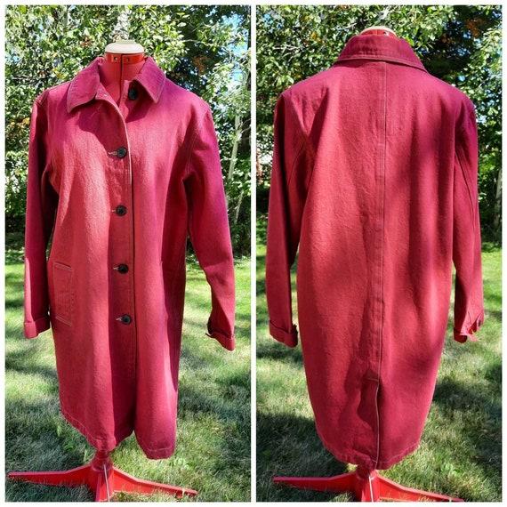 Vintage Red Denim Coat M Denim & Co. Y2K - image 1