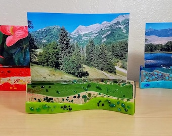 Fused glass curvy photo holders / photo stands / free standing picture holders / colorful textured rolled edges organic shapes in glass