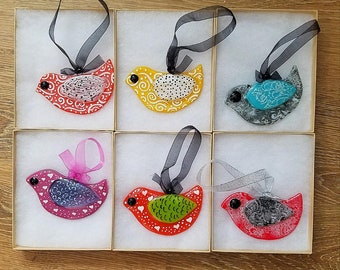 Fused glass whimsical bird ornaments, Christmas ornaments
