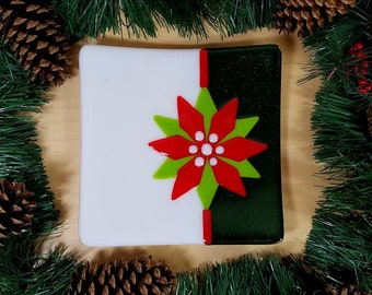 Christmas poinsettia serving platter, decor plate, cookie plate, festive Christmas platter