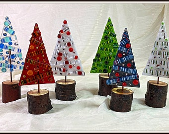 Whimsical fused glass Christmas trees / glass stringer art / natural wood bases