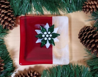 Six inch poinsettia Christmas dish, trinket dish, holiday dish, candy dish, candle dish, red-white-sparkly green