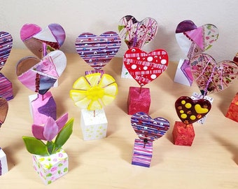 Whimsical fused glass hearts / tabletop art / windowsill art / hand painted wooden bases / embellished hearts