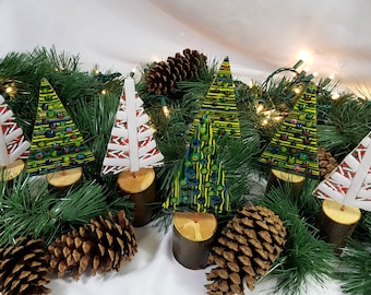 Whimsical fused glass Christmas trees on natural apple or maple wood bases, version 2.0