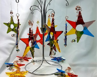 wire-wrapped fused glass stars with crystal / suncatchers / ornaments