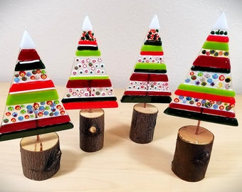 Whimsical fused glass Christmas tree / stripes and millefiori / natural wood bases