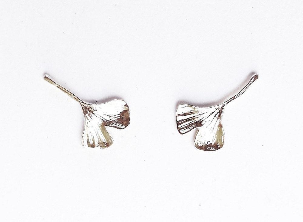 Sterling Gingko Leaf Post Earrings Botanical Jewelry