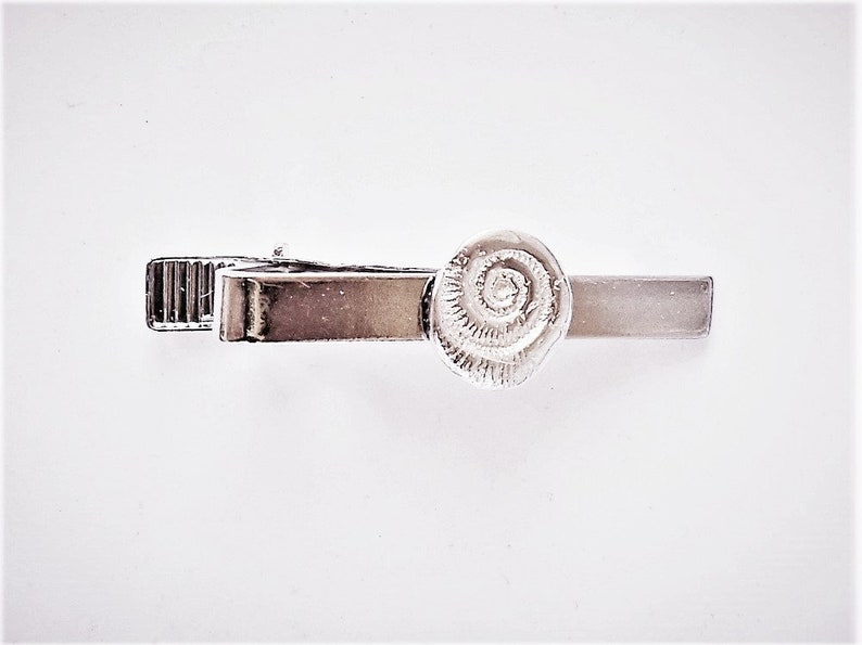 fossil accessory mens gift Father/'s Day gift under 15 rock hound gift graduation gift geology jewelry Sterling ammonite tie clip