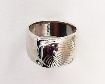Sterling shell ring, beach jewelry, Kawaii accessory, seaside gift