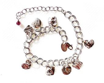 Sterling botanical charm bracelet, leaf jewelry, herb accessory