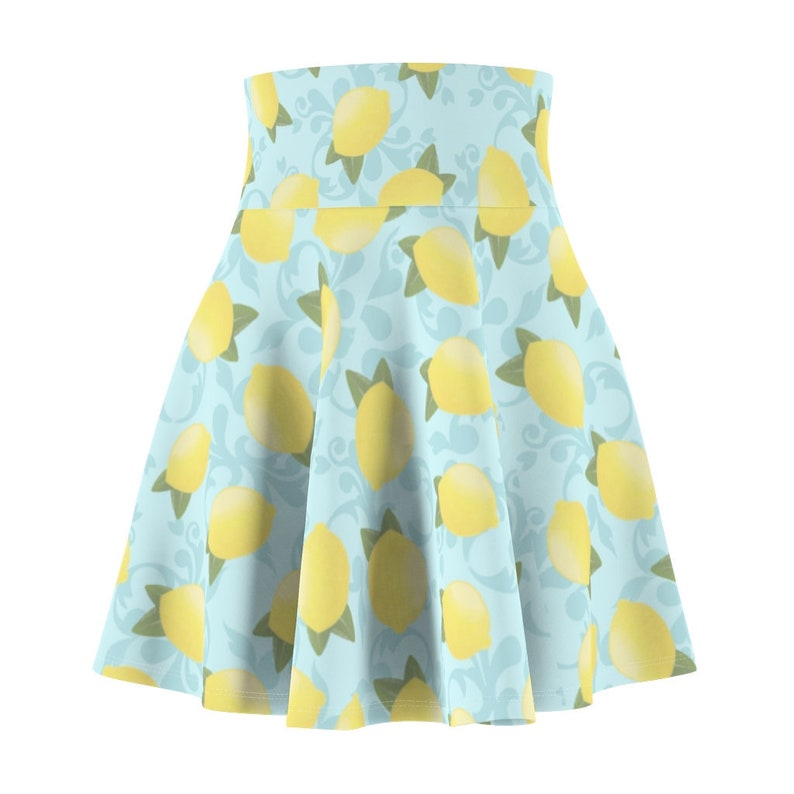 Lemon Print Short Dress High Waist Cheerleader Mini Skater A-line Skirts Women/'s Skirt XS-2XL