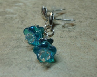 Aqua Czech Earrings, Bell Flower Earrings, Dainty Floral Earrings, Swarovski Crystal Earrings, FREE SHIPPING