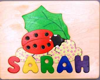 Ladybug and Name Personalized wooden puzzle. A cute birth gift, first birthday gift, Christmas gift for girl. May be hung as Nursery decor..