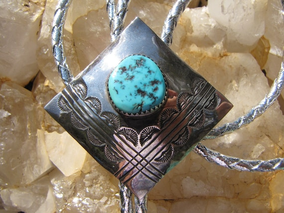 Native American Bolo Turquoise Sterling Silver Sig