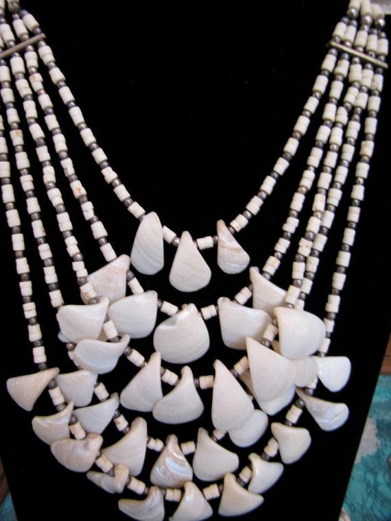 Multi-Strand Bib Shell Necklace /Vintage Indian Tr