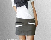 Short Asymmetrical Dark Olive Gray Skirt with Diagonal Pockets