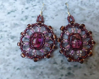 Purple and lavender Mandala earrings.