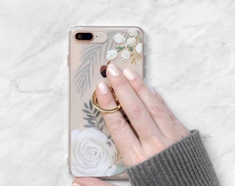 Phone Case and Gold Ring Grip Holder for iPhone or Samsung Galaxy Watercolor Roses Modern Floral