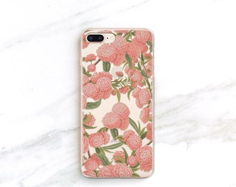 Clear Floral iPhone X 8 7 6S Plus SE Samsung Galaxy S8 S9 S7 Case Pink Flower Forest