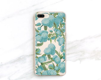 Clear Phone Case Floral iPhone X 8 7 6S Plus SE Samsung Galaxy S8 S9 S7 Blue Flower Forest