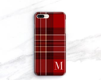 Personalized iPhone 11 Pro Max Case iPhone 12 Plaid Red Tartan Hygge SE 2020 Monogramed iPhone Xs Cozy Gift Ideas For Him Her Xr CG-PLR