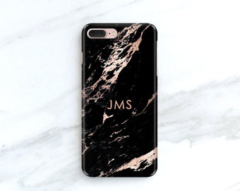 Rose Black Marble Phone Case Personalized Gift for Her, Sister, Mom, iPhone 11 8 Plus Xs Max Xr 7 12 SE Custom Gift Idea S21 CG-MARROB