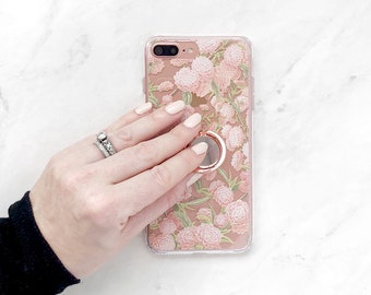 Floral Print Clear Case iPhone Ring Holder Stand Pink Flower Forest iPhone 8 Plus X 7 6S Case Grip Samsung Galaxy