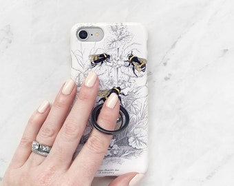 Ring Stand Phone Grip With Bee Botanical Case iPhone or Samsung Galaxy, Expanding Stand Finger Holder Black White and Yellow Bumblebees