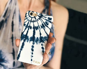 Personalized Gift For Her, iPhone X Case Tie Dye iPhone 8 Plus Boho iPhone 7 Plus Indigo Tie Dye Burst iPhone 6S Plus Blue Shibori