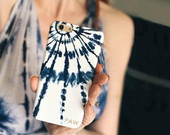 Personalized Phone Case Tie Dye Burst Summer Festival Style Boho Look iPhone X 8 Plus Blue Shibori