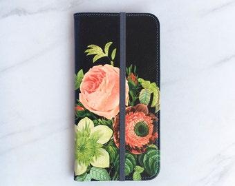Bouquet iPhone 7 Wallet Case Floral on Black, iPhone 8 Plus Womens Wallet iPhone X, iPhone 6S Plus Faux Leather