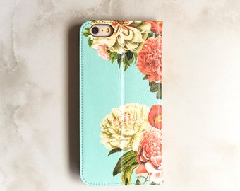 iPhone 7 Wallet Case iPhone X Floral Peony Bunch on Blue, iPhone 8 Plus Floral Womens Wallet iPhone 6S