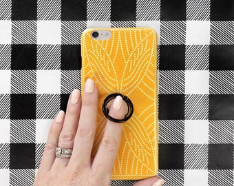 Phone Case with Ring Stand Grip - Boho Dot iPhone and Samsung Galaxy, Finger Holder, Goldenrod Yellow and Black for Spring, Summer