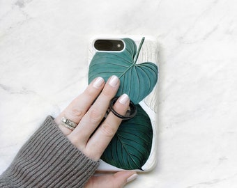 Ring Stand Phone Holder Jungle Leaf Case iPhone and Samsung Galaxy, Expanding Stand and Grip for Smartphones
