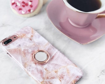 Rose Quartz Case iPhone or Galaxy Ring Phone Grip Expanding Stand and Finger Holder for Smartphones | Millennial Pink Marble