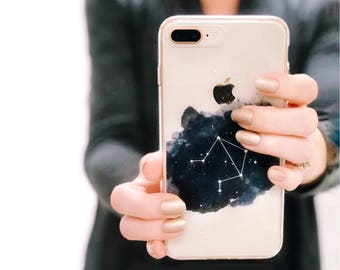 Clear iPhone X Case Constellations iPhone 7 6S 8 Plus Personalized Birthday Gift Astrology Astrological Signs Star Phone Case Zodiac Gift