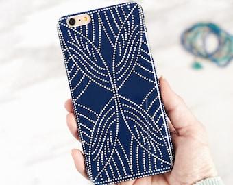 Boho Dot Pattern iPhone 8 Plus Case Indigo Blue Spots iPhone 7 Case, iPhone X Phone Case Boho Style, Samsung Galaxy S9 Plus