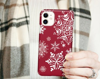 Red iPhone 12 Case Snowflakes, Winter iPhone 13 Pro Max Case, Snow Se 12 Mini Holiday iPhone 11 Pro, Christmas Galaxy S20 CG-SNOR