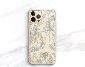French Country Toile iPhone 13 12 11 Pro Max Case Clear, iPhone Xs, Cottage Chic Provincial Shabby Gift for Her Women Sister Wife Mom CC-WT
