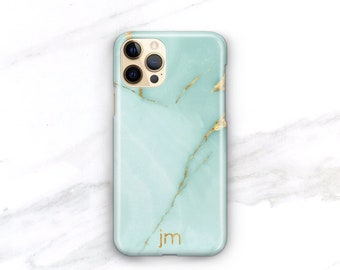 Personalized Phone Case Turquoise Marble iPhone 12 Pro Case Monogrammed 12 Mini 11 Pro Xs Gift For Her Aqua Marble