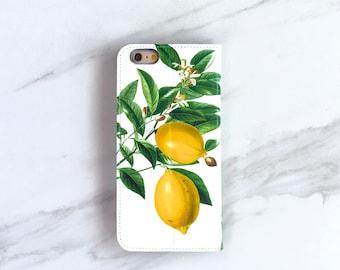 Lemon iPhone Wallet Case Botanical Lemons iPhone 11 Pro / Xs / Plus / 7 / 8 Plus Womens Summer Accessory WC-LEMW