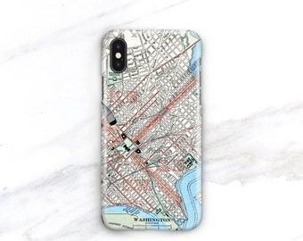 Vintage Washington D.C. Map Phone Case iPhone X 8 Plus 7 SE, 6S Galaxy S8 S9, 4th of July Summer Fashion, Patriotic USA Independence Day
